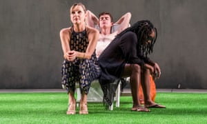 Lesley Sharp (Irina), Paul Higgins (Hugo) and Cherrelle Skeete (Marcia) in The Seagull.