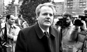 President Milosevic arrives in Pristina, capital of Kosovo, to meet mine workers on strike over constitutional changes, December 1988.
