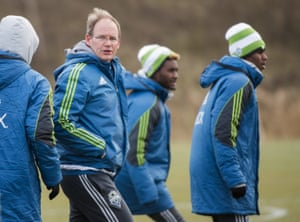 Seattle Sounders head coach Brian Schmetzer takes training before the final.