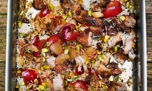 Pork, plum and pistachio salad