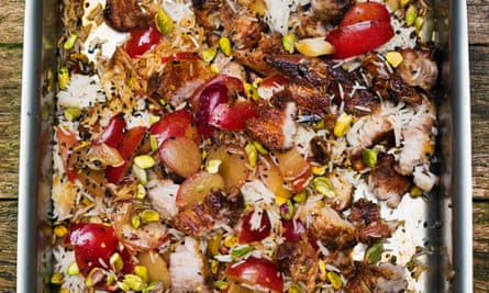 Pork, plum and pistachio salad