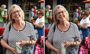 Elizabeth May with a disposable cup, and the doctored image featuring a metal straw and recyclable cup.