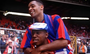 Mark Bright with Ian Wright after the 1990 FA Cup final between Crystal Palace and Manchester United ended 3-3 after extra time.