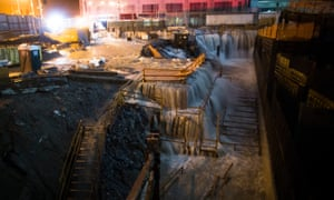Flooding at Ground Zero construction site