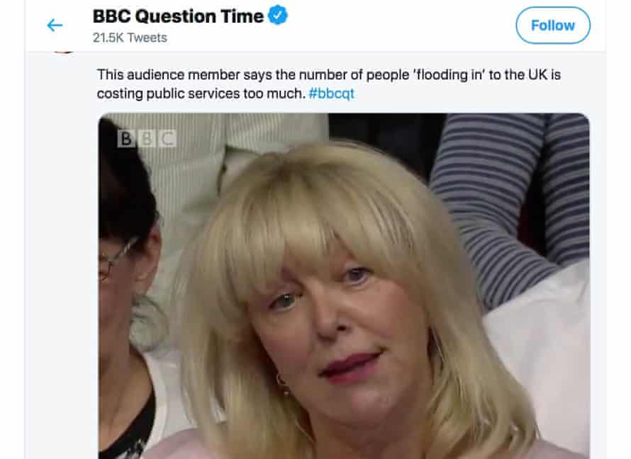 The BBC Question Time tweet.