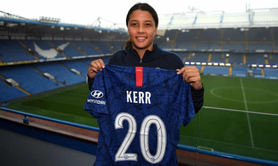 Sam Kerr poses at Stamford Bridge after proclaiming that England's Women's Super League is 'the best league in Europe.'
