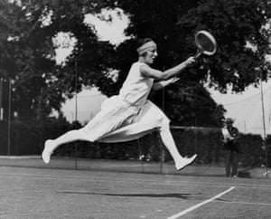 Tennis Fashion: Daring French tennis player Suzanne Lenglen competing at Wimbledon in 1926