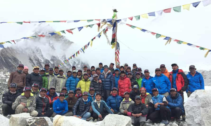 Expedition leader Greg Vernovage with his Nepalese team