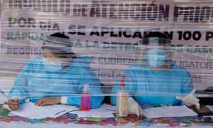 Medical workers at a health kiosk in the Iztapalapa district of Mexico City on Tuesday.
