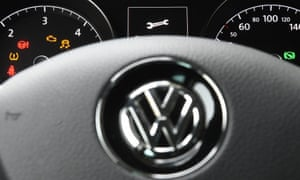 A symbol of a wrench is seen on the dashboard of a Volkswagen Golf in Leipzig, Germany.
