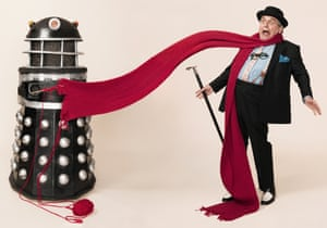 Doctor Who actor Sylvester McCoy with Dalek for winter scarves feature