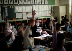 Kumagai attends class at Meiji elementary school