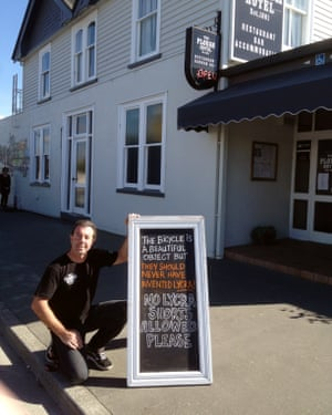 Mike Saunders, co-owner of Plough Hotel in Rangiora, New Zealand, has banned lycra from his establishment because of unsightly bulges and bumps.