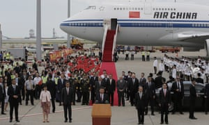 Chinese President Xi Jinping speaks after he arrived at Hong Kong's airport.