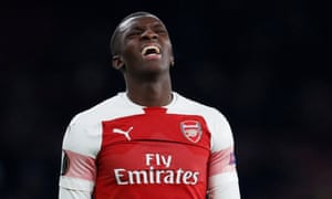 Arsenal's Eddie Nketiah reacts after his header goes over the bar.