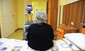 In the Residenza Sanitaria Assistenziale San Lorenzo in Florence, Italy, a robot acts as a caregiver or butler for the 20 elderly guests