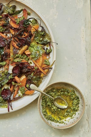 Roasted roots and wasted pesto