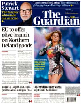 Guardian front page, 13 October 2021