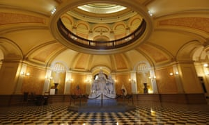 The usually bustling state Capitol rotunda in Sacramento is empty