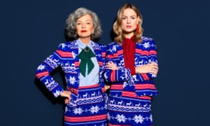 Ow, my eyes! Matching Christmas suits