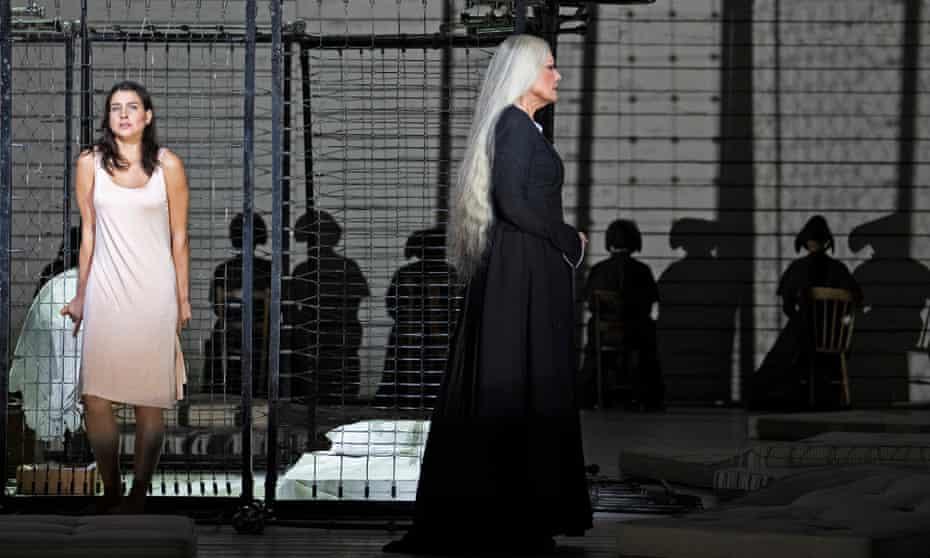 All the world's a cage … Asmik Grigorian as Jenůfa and Karita Mattila as Kostelnička in Claus Guth's staging of Janáček's opera at the Royal Opera House.