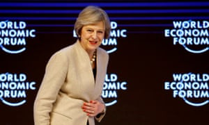 Theresa May at the World Economic Forum in Davos: no easy ride.