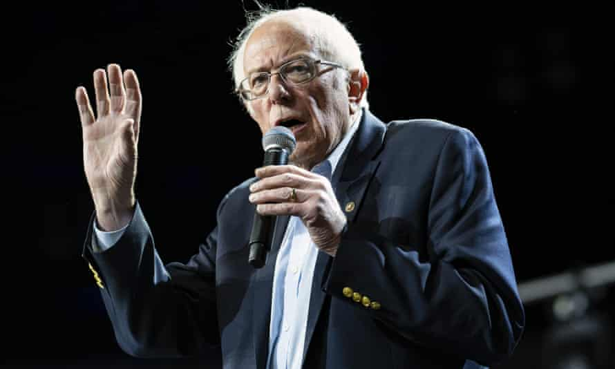 Democratic presidential candidate Senator Bernie Sanders speaks at a campaign rally in Los Angeles, California, on 1 March.