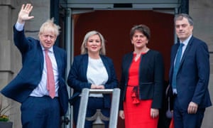 Boris Johnson, Michelle O'Neill, Arlene Foster and Julian Smith