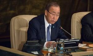 UN Secretary General Ban Ki-moon at the Aids summit.