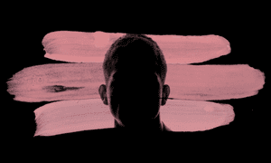 Man's face in silhouette