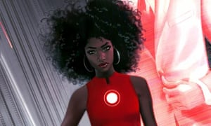 Riri Williams, who took over the Iron Man storyline as Ironheart, on the cover of Invincible Iron Man #1