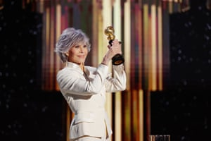 Jane Fonda accepts the Cecil B DeMille Award onstage