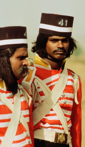 Extras playing troopers at the siege of Lucknow in The Chess Players.