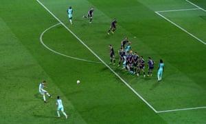 Cristiano Ronaldo has a go from a free-kick.