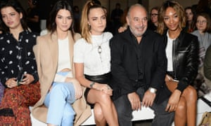 Green with, from left, Pixie Geldof, Kendall Jenner, Cara Delevingne and Jourdan Dunn at a Topshop show during London fashion week last year.