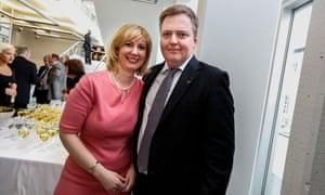 Iceland's prime minister Sigmundur Davíð Gunnlaugsson with his wife Anna Sigurlaug Pálsdóttir.