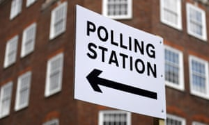 A sign points to a polling station in London