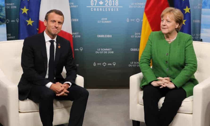 Emmanuel Macron and Angela Merkel at the G7 summit in Canada: 'Macron, with his powdered brow and talk about French grandeur, is regarded with unease.'