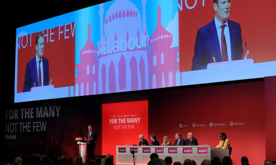 Shadow Brexit secretary Keir Starmer addressing Labour party conference in Brighton