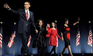 The Obama family celebrate election victory in 2008.