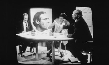 British Labour politicians Tony Benn (left) and Roy Jenkins debate the EEC with presenter David Dimbleby on a BBC Panorama Referendum Special.