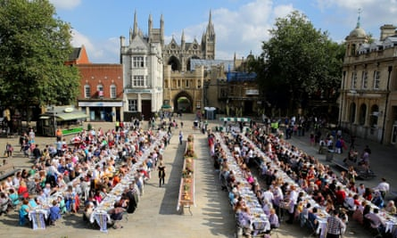 Art you can eat: Lucy + Jorge Orta's Peterborough event last year, with loads of people scoffing outside at many long tables.