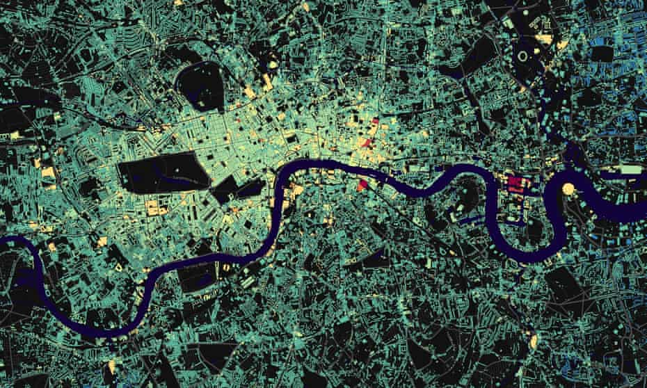 Building heights map of London