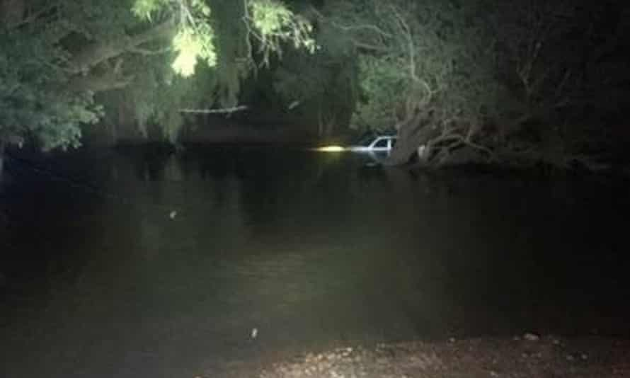 A police image showing the Landcruiser submerged at Dingo Station river crossing in the Northern Territory.