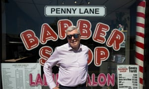 Alan Johnson visits Penny Lane in Liverpool