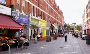 Pavement cafes and shops just off Balham High Road South London