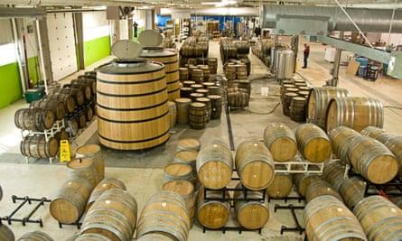 Oak barrels containing beer