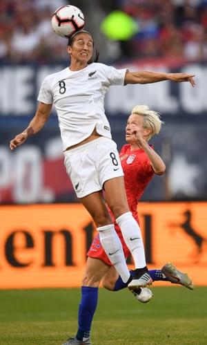 Abby Erceg climbs high above USA's Megan Rapinoe