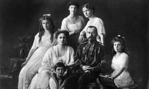 Tsar Nicholas II of Russia with his wife, Alexandra, and son, Alexei, and daughters, Olga, Tatiana, Maria and Anastasia.