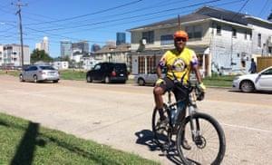 State senator Rodney Ellis cycling in Houston.